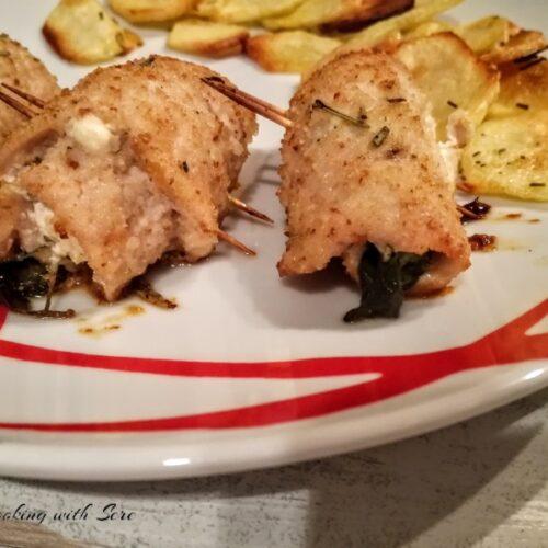 involtini di pollo con philadelphia e rucola