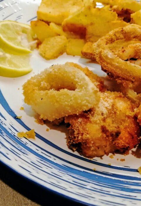 calamari e gamberi gratinati al forno