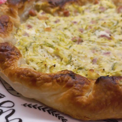 torta salata con zucchine e prosciutto cotto