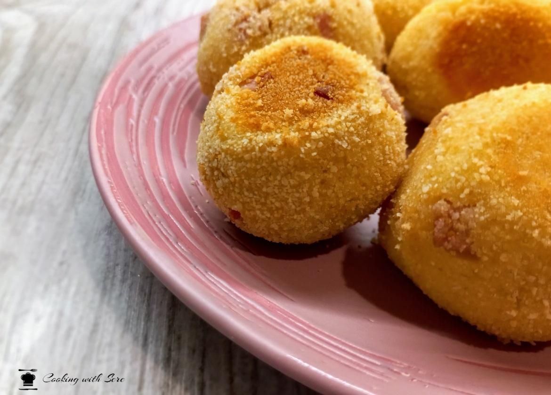 crocchette di patate al forno con prosciutto cotto